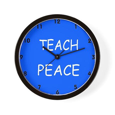 Blue TEACH PEACE Wall Clock