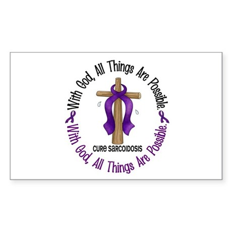 With God Cross SARCOIDOSIS Rectangle Sticker