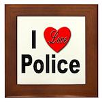 I Love Police Framed Tile