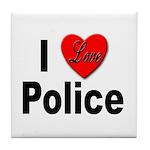 I Love Police Tile Coaster