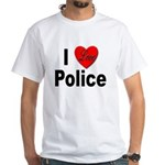 I Love Police (Front) White T-Shirt