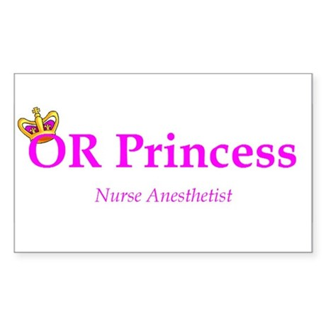 OR Princess CRNA Rectangle Sticker