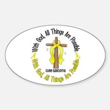 With God Cross SARCOMA Oval Decal