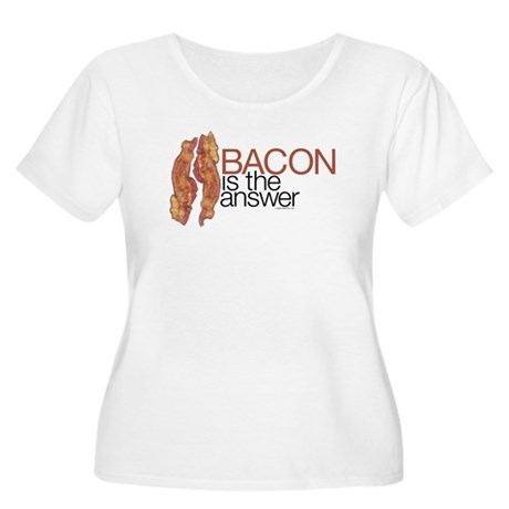 """""""Bacon is the Answer"""" Women's Plus Size Scoop Neck"""