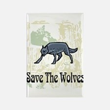 Save The Wolves Rectangle Magnet