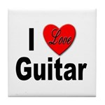 I Love Guitar Tile Coaster