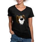 Big Nose Papillon Women's V-Neck Dark T-Shirt