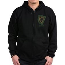 Irish Harp and Shamrock Zip Hoodie