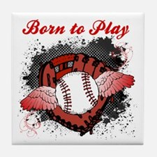 Born to Play Baseball Tile Coaster