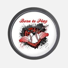 Born to Play Baseball Wall Clock