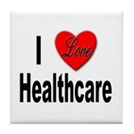I Love Healthcare Tile Coaster