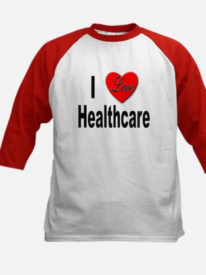 I Love Healthcare (Front) Kids Baseball Jersey