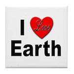I Love Earth Tile Coaster