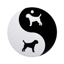 Yin Yang Border Terrier Ornament (Round)