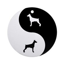 Yin Yang Doberman Ornament (Round)