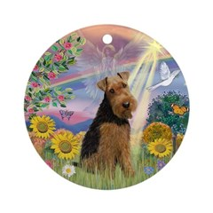 Cloud Angel Welsh Terrier Ornament (Round)