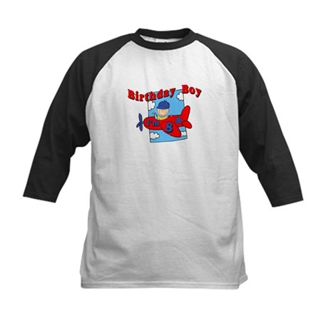8th Birthday Airplane T-Shirt Kids Baseball Jersey