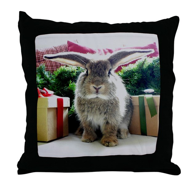 Cute rabbit & gifts Throw Pillow by bunnylovers