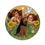 Angels and Welsh Terrier Ornament (Round)