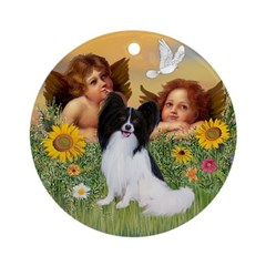 Angels and Papillon Ornament (Round)