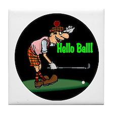 Hello Ball Golf Tile Coaster