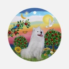Samoyed in Bright Country Ornament (Round)