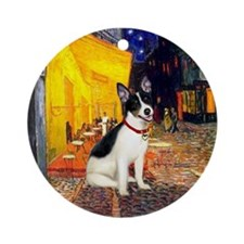 Cafe & Rat Terrier Ornament (Round)