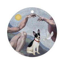 """Creation"" and Rat Terrier Ornament (Round)"
