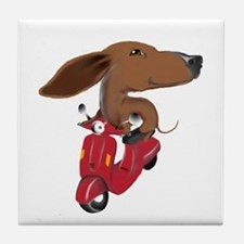 Cute Daschunds Tile Coaster