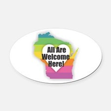 Wisconsin - All Are Welcome Here Oval Car Magnet