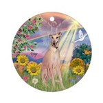 Cloud Angel Greyhound Ornament (Round)