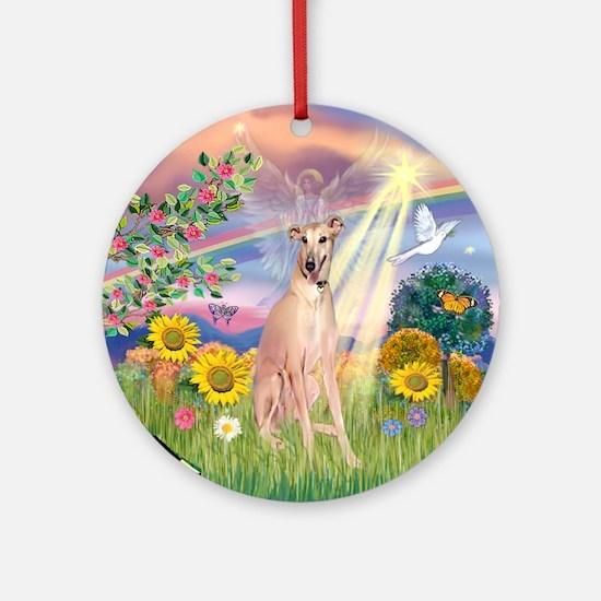 Cloud Angel Greyhound Ornament (Round)