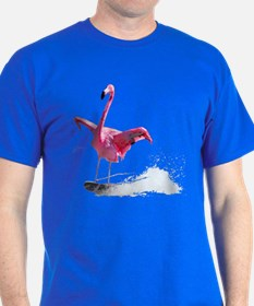 Flamingo skiing on T-Shirt