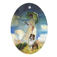 Sheltie in Monet Painting Oval Ornament