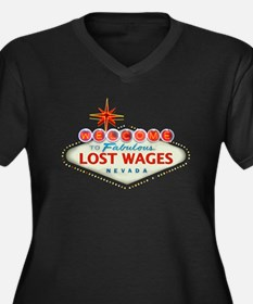 LOST WAGES Women's Plus Size V-Neck Dark T-Shirt