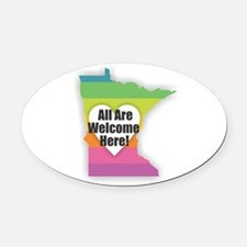Minnesota - All Are Welcome Here Oval Car Magnet