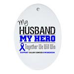 ColonCancerHero Husband Oval Ornament