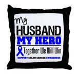 ColonCancerHero Husband Throw Pillow