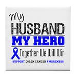 ColonCancerHero Husband Tile Coaster