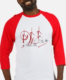 Wind Energy Red Text Baseball Jersey