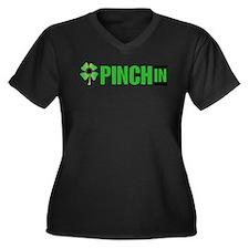 pinch in Women's Plus Size V-Neck Dark T-Shirt