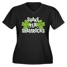 Shake Yer Shamrocks Women's Plus Size V-Neck Dark