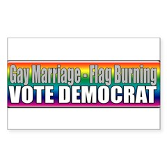 Gay Marriage Flag Burning Rectangle Sticker 50 pk
