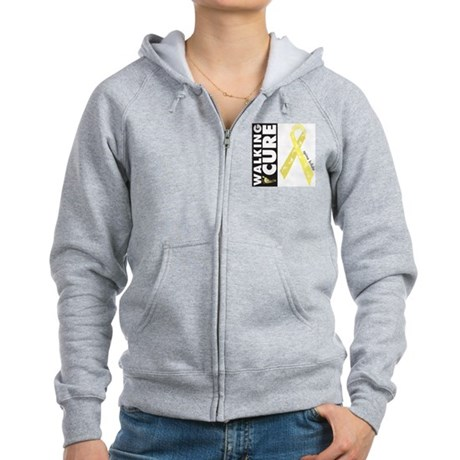 Pale yellow ribbon for spina Women's Zip Hoodie