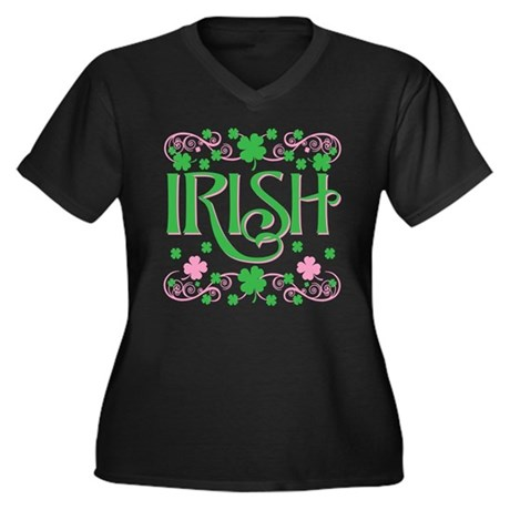 Irish Women's Plus Size V-Neck Dark T-Shirt