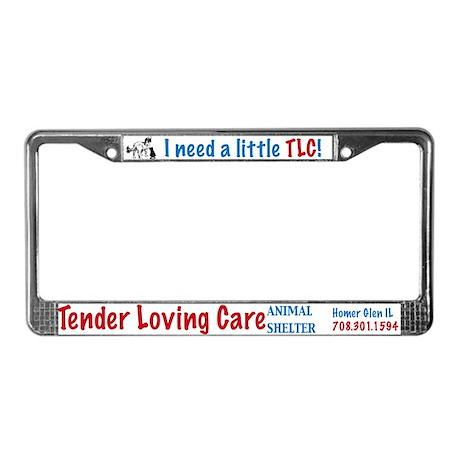 TLC dog and cat logo License Plate Frame