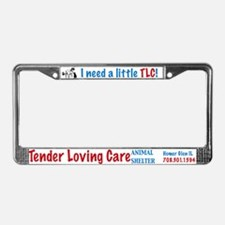 TLC dog and cat logo License Plate Frame