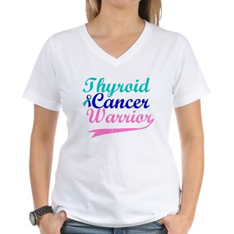 Thyroid Cancer Warrior Women's V-Neck T-Shirt