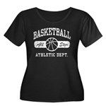 Basketball Women's Plus Size Scoop Neck Dark T-Shi