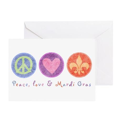 Peace Love & Mardi Gras Greeting Card